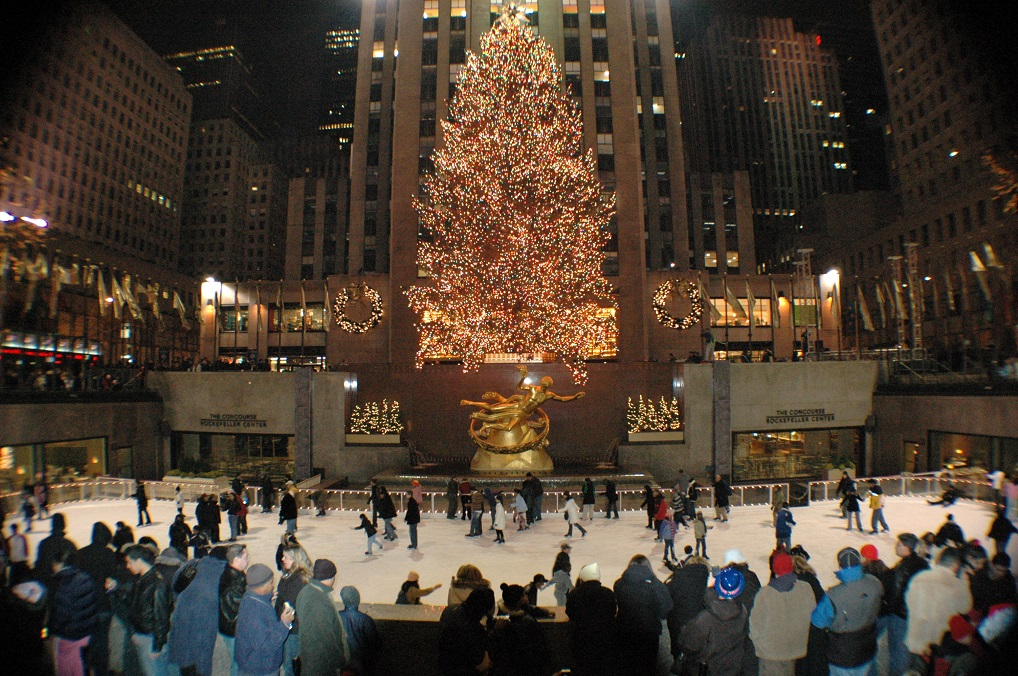 Arbol y patinaje en el Rockefeller Center